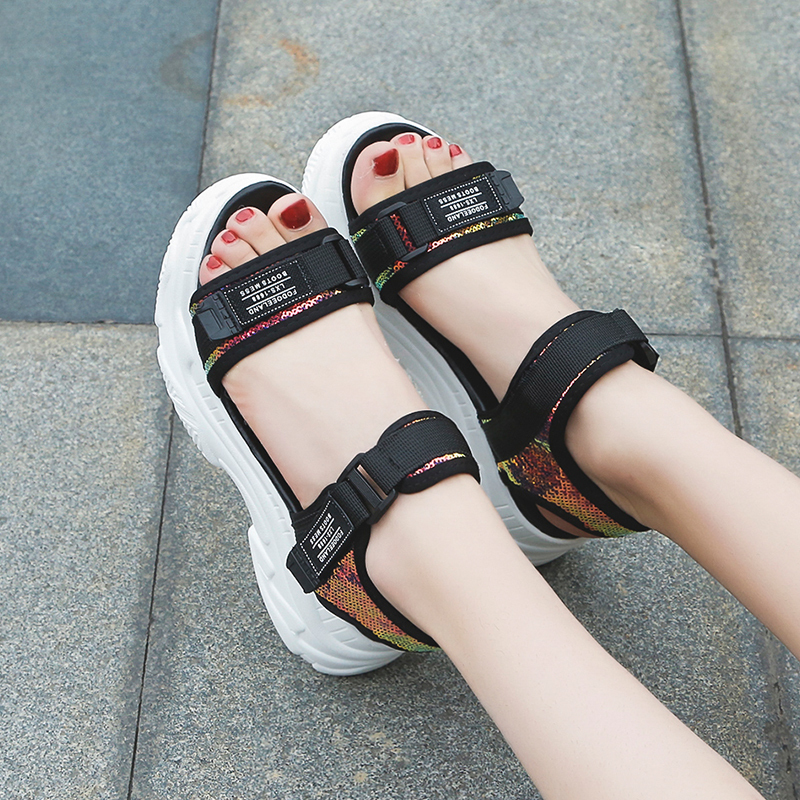 HTB1D.ztd8WD3KVjSZKPq6yp7FXa6 Fujin High Heeled Sandals Female Summer 2019 Women Thick Bottom Shoes Wedge with Open Toe Platform Shoes Increased Shoes