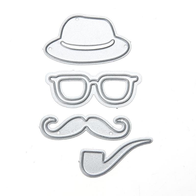 4pcs/lot Male Hat Glasses Beard Pipe Metal Cutting Dies  Embossing Craft Dies Cut for Scrapbooking Photo Album DIY Decorative Борода
