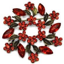 2 дюйма под бронзу Винтаж брошь с завитками с красным Хрустальные Стразы Свадебная вечеринка брошки с цветами