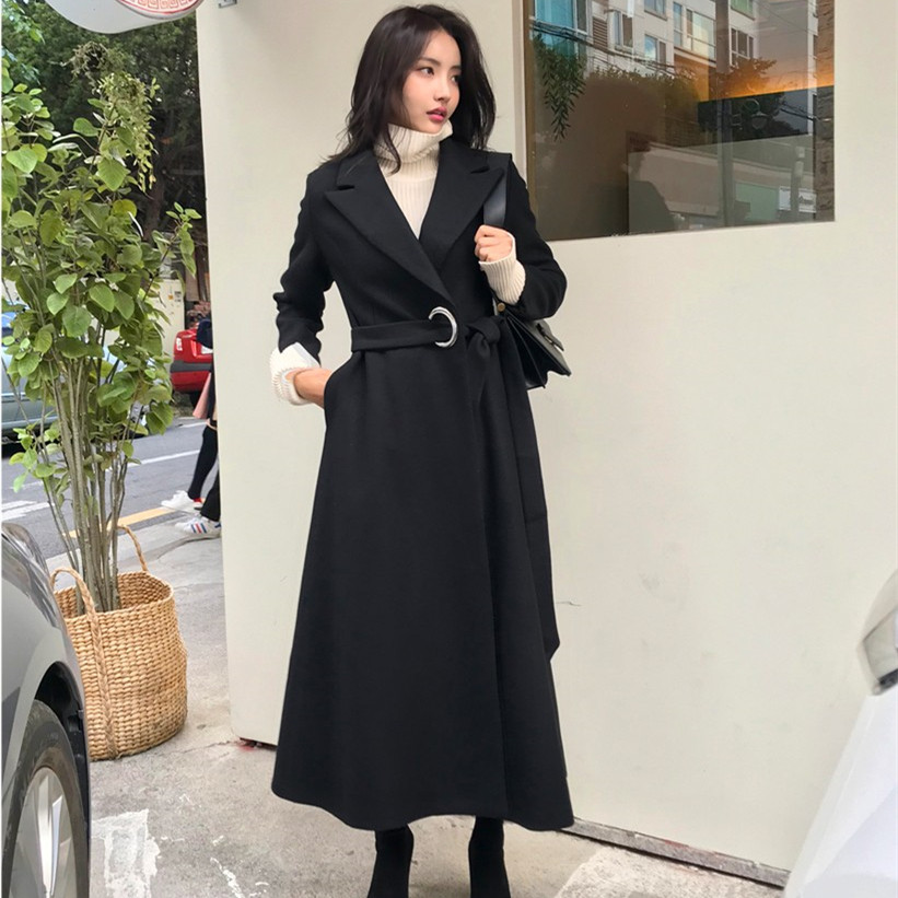 Autumn Winter New Hot Sale Coat 2019 Casual Adjustable Waist Big Swing Long Black Red Gray
