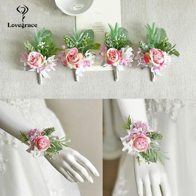 pink roses bridal Wrist corsages bracelet wedding flowers  (2)
