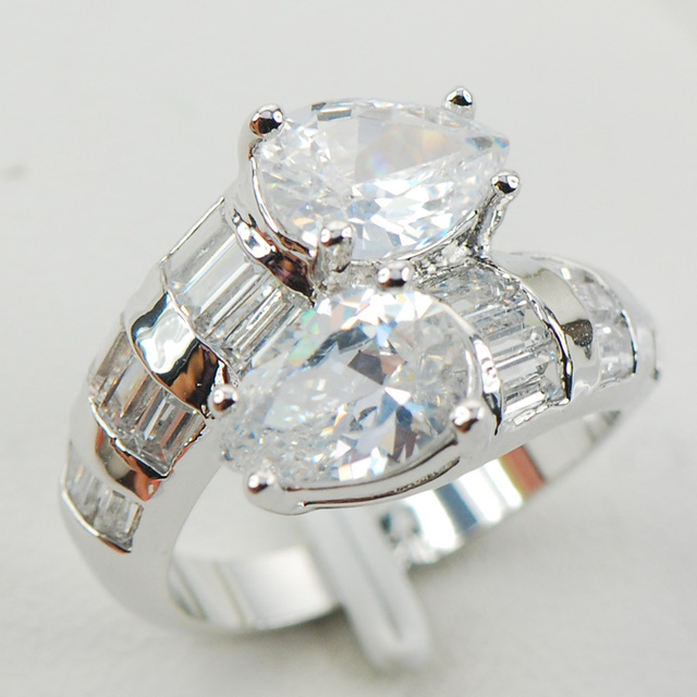 White Simulated Sapphire Women 925 Sterling Silver Ring F958 Size 6 7 8 9 10