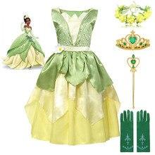 цены на Fairy Tale The Princess and the Frog Costume for Kids Age 3-8 Years Girl Princess Tiana Dress Birthday Fantasy Gown Party Frock  в интернет-магазинах