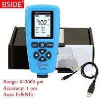 디지털 코팅 두께 게이지 bside cct01 1 micron/0-2000um 자동차 페인트 필름 두께 측정기 fe/nfe 측정