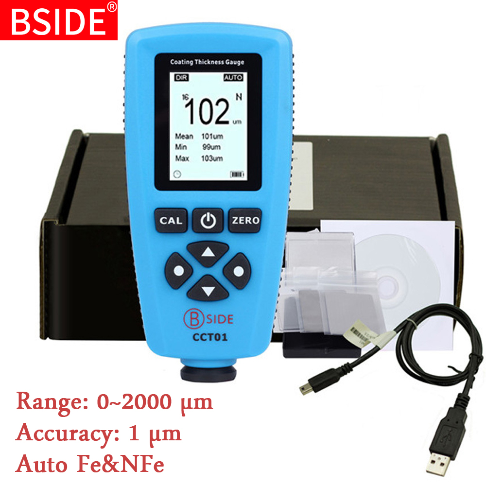 Digital Coating Thickness Gauge BSIDE CCT01 1 Micron/0-2000um Car Paint Film Thickness Tester  Meter Measuring FE/NFE