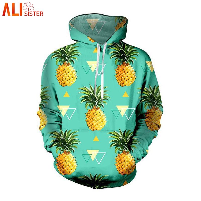 Alisister Pineapple Print 3D Hoodies Sweatshirt Plus Size Men Women Tracksuit Outfits Funny Sudaderas Hombres Moletom Dropship