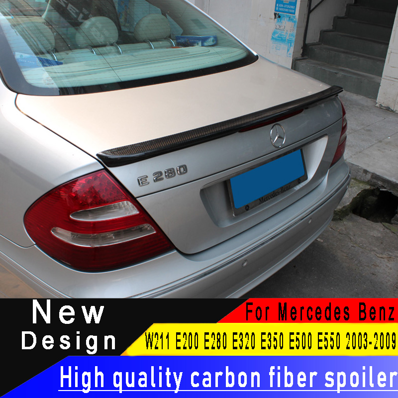For Mercedes Benz W211 E Class 4 door Sedan 2009 2013 carbon fiber spoiler E200 E280