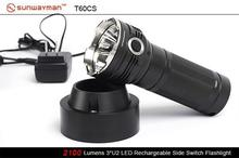 Free shipping Sunwayman T60CS 3 x Cree XM-L U2 6-Mode LED Flashlight 2100 Lumens Rechargeable tactical flashlight