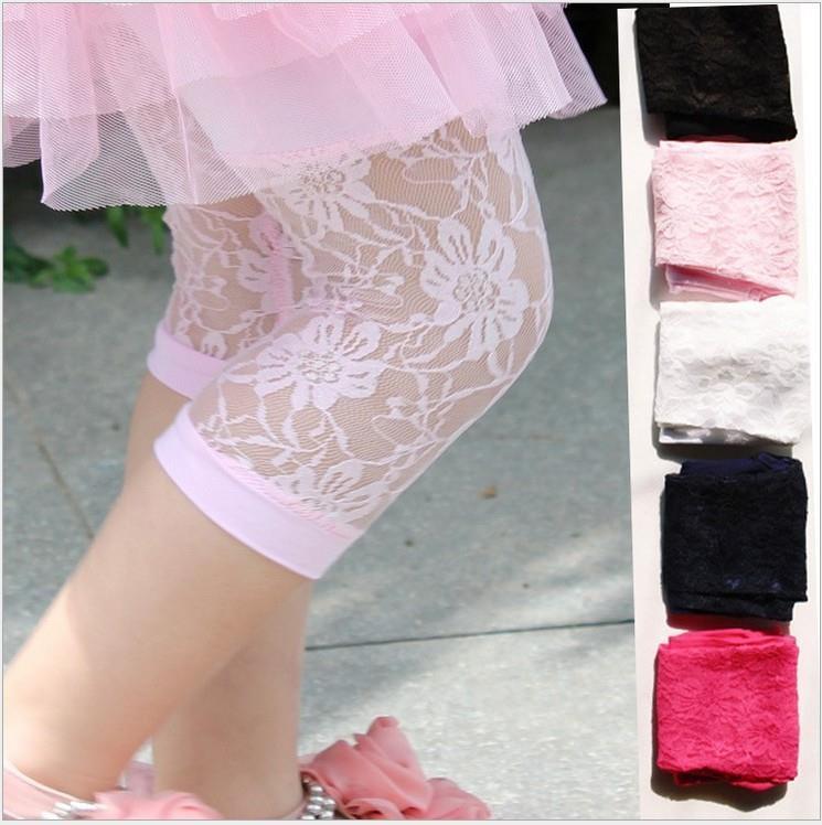 Children'S   Pants   2018 New Summer Korean All-Match Lace Girl Calf Length Pencil   Pant   Cotton Thin   Capris   Child Kids Leggings