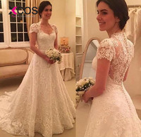 XCOS Backless Cap Sleeve White Bohemian Lace Wedding Dresses 2018 Plus Size Custom Made A Line Vestido De Noiva Wedding Dress