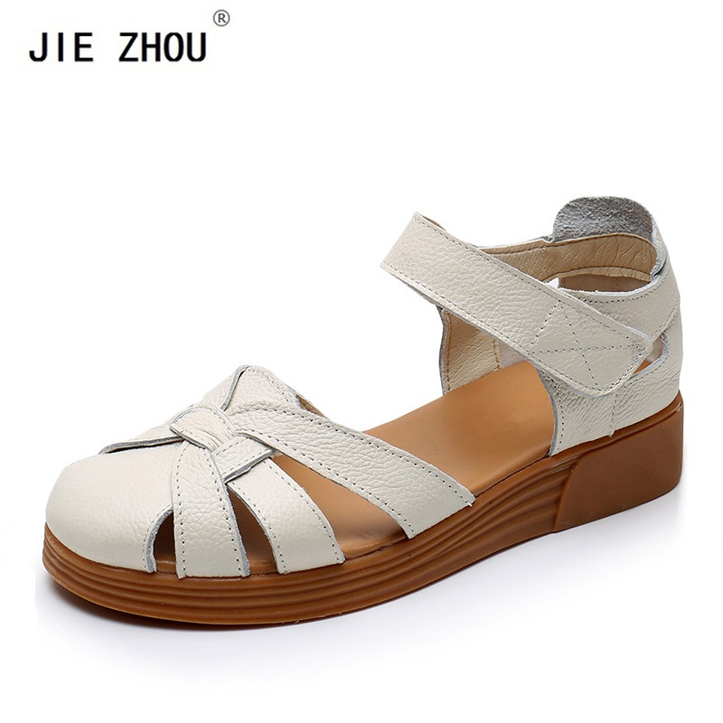 New summer Wedges shoes comfort Non slip Genuine Leather Women s sandals Closed toe Hollow Middle