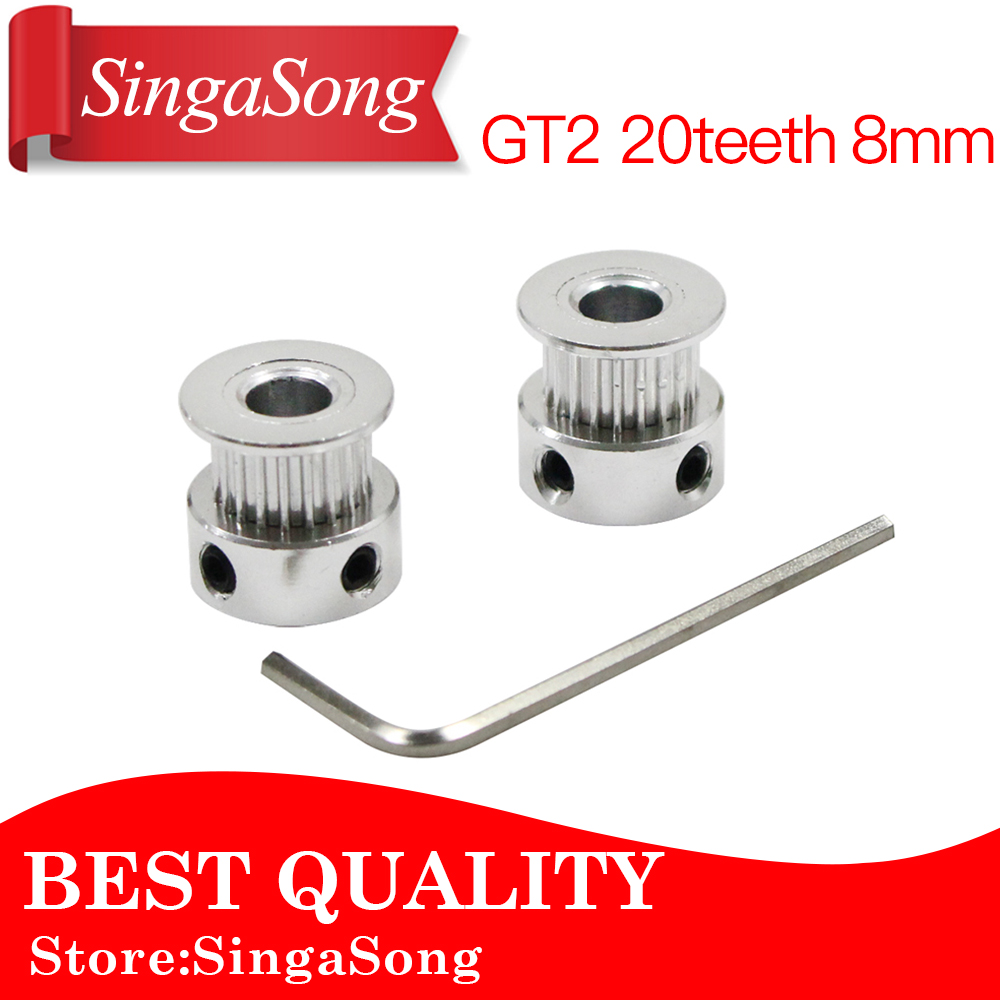 (10pcs/lot)3D Printer Parts Accessory GT2 20teeth 20 teeth Bore 8mm 5mm Timing Alumium Pulley fit for GT2-6mm Open Timing Belt gt2 20teeth 16 teeth 20 teeth bore 5mm 8mm timing alumium pulley fit for gt2 6mm open timing belt for 3d printer