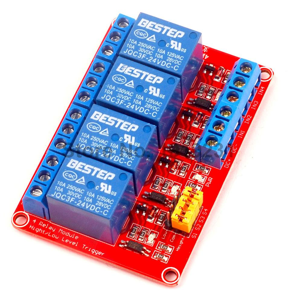1PCS 4 Channel 24V Relay Module 4-Channel Module High and Low Trigger Red Board