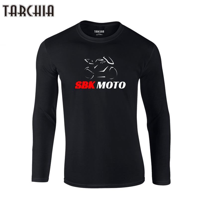 TARCHIA Men T-Shirts 2019 New Design Long Sleeve O-Neck 100% Cotton Tees Tops Mens Sbk Moto Slim Casual T Shirts Homme