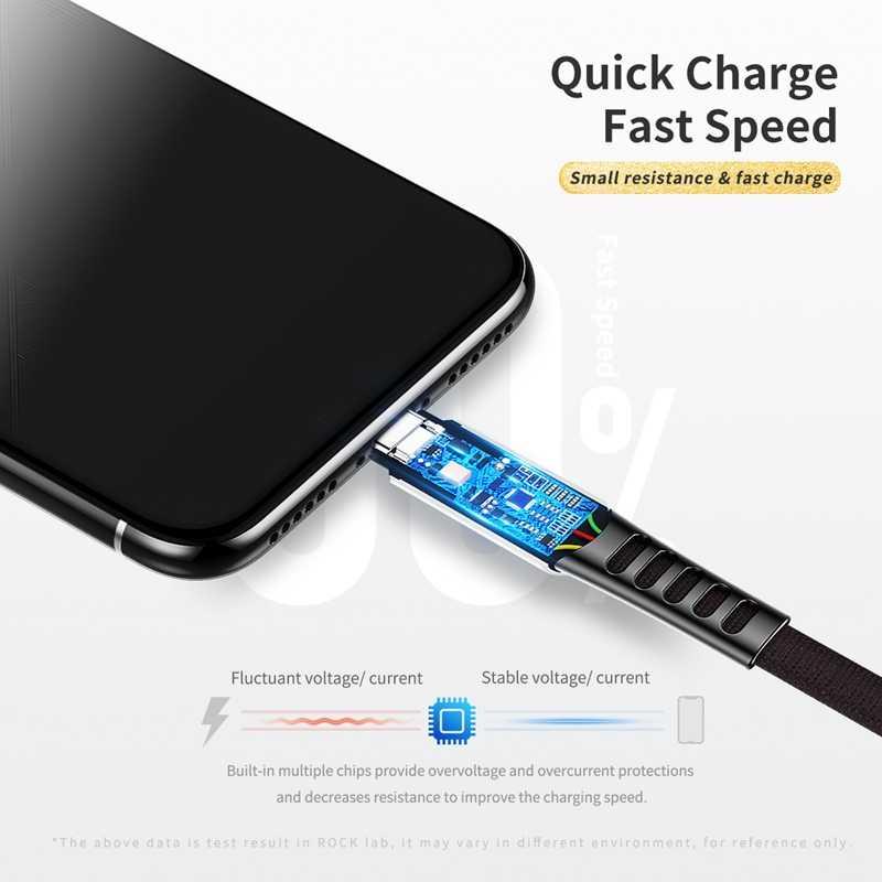 روك الفاخرة USB نوع C كابل ل xiaomi USB C الزنك سبائك الهاتف المحمول كابل شحن سريع نوع C كابل ل USB نوع-C الأجهزة