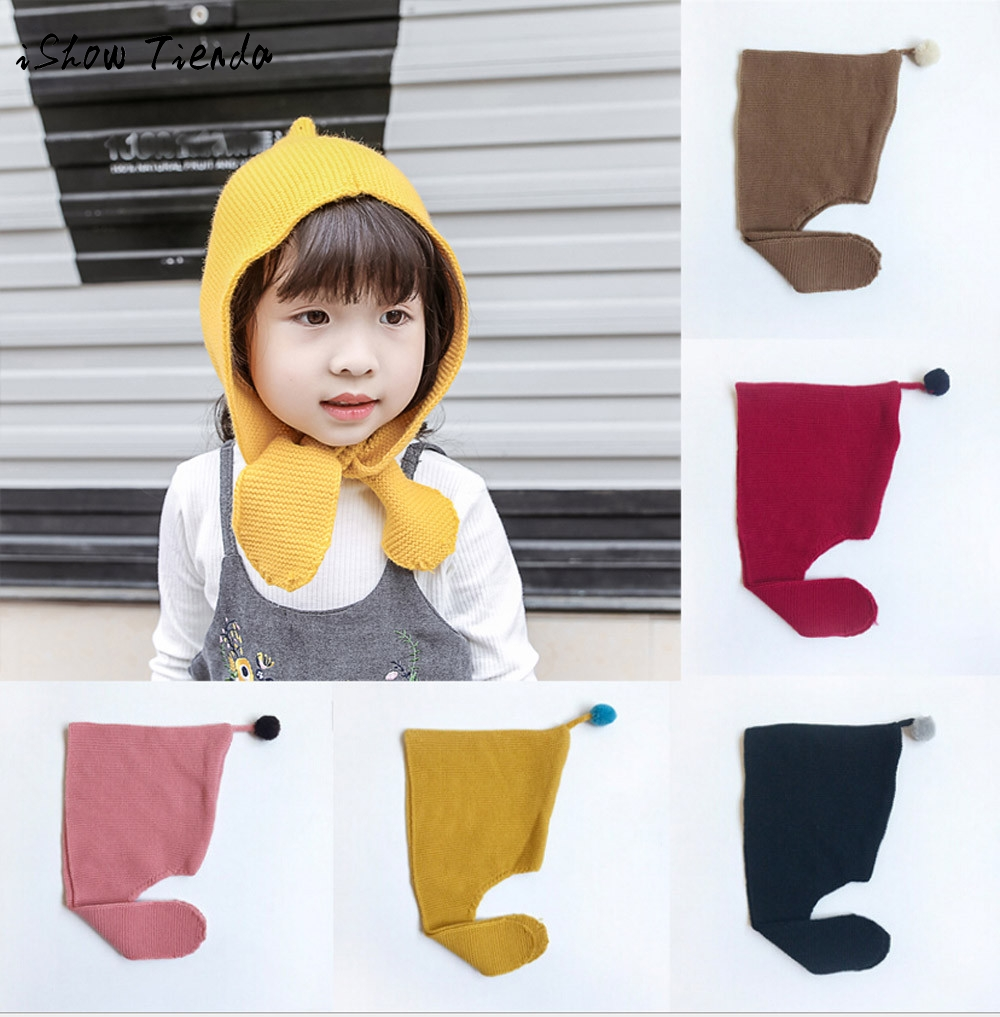 2017 Fashion China Babies Toddler Kids Girls Knitted Crochet Beanie Winter Warm Hat Cap solid cotton childrens hair accessories