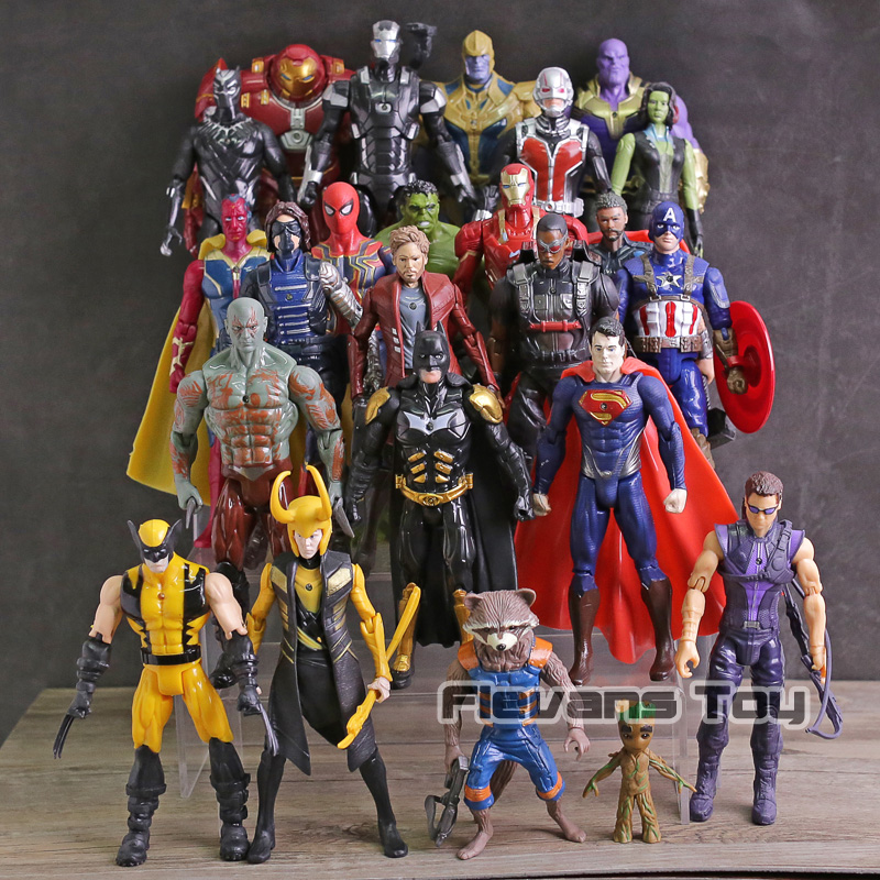 Avengers Infinity Guerra Thanos Iron Man Spiderman Capitan America Black Panther Black Widow Action PVC Figure Giocattoli 24 pz/set