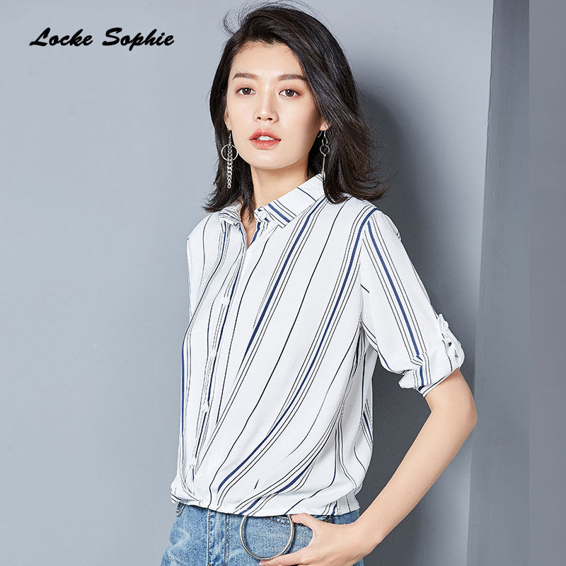 bba09ffac0db4 Ladies Plus size blouses tops shirts 2018 Summer Fashion Chiffon Irregular  stripe Primer shirt women Skinny Retro shirts Girls