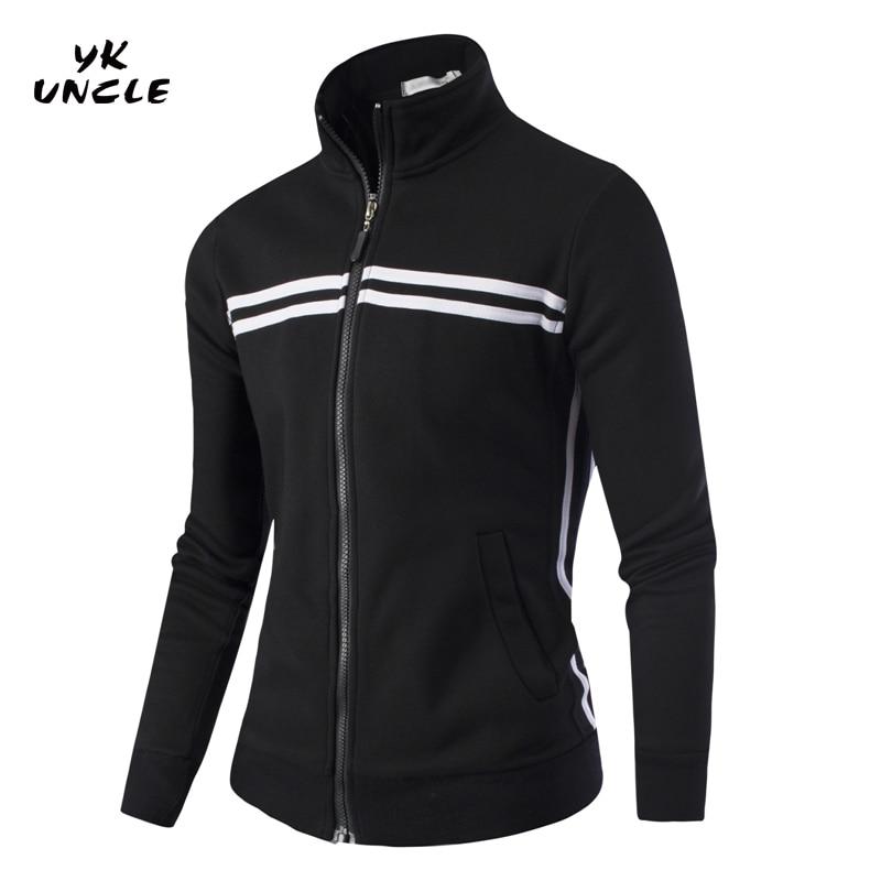 2016 New Brand Mens Sportswear Hoodies Striped Zipper Men Tracksuits Stand Collar Sweatshirts&Coats for Men Size M-4XL,YK UNCLE