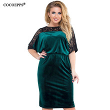 2018 Spring summer Plus Size Velvet Lace Dress Women Big Size Elegant  Patchwork Dress 6XL Large 3ca0b4abf3a1