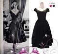El pequeño vestido negro LBD Verano Retro Vintage 1950 s 60 s Rockabilly Pin up Oscilación Ocasional Partido Vestido de las mujeres Audrey Hepburn