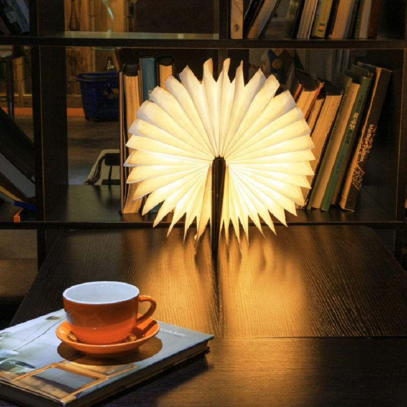 Innovative USB Rechargeable LED Foldable Wooden Book Shape Desk Lamp Nightlight Booklight for Home Decoration Warm White Light creative flip book page led nightlight