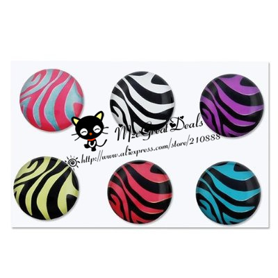 6 Pieces Zebra Patterns Home Button Sticker Compatible with Apple iPhone 4S for iphone 5