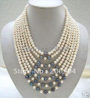 Fatti a mano di natale giunonica d'acqua dolce bianco perla nera collana dei monili di modo-in Catenine da Gioielli e accessori su  Gruppo 1