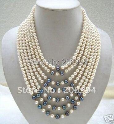 Handmade Christmas Junoesque süßwasser weiß schwarz perlenkette modeschmuck-in Kette Halsketten aus Schmuck und Accessoires bei  Gruppe 1
