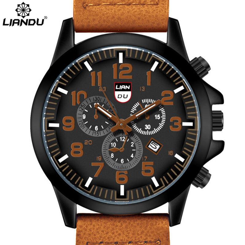 LIANDU Men's Quartz Watches 30M Waterproof Leather Fashion & Casual Sports Military Wristwatches Relogio Masculino Esportivo