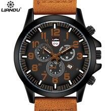 LIANDU Mens Quartz Watches 30M Waterproof Leather Fashion & Casual Sports Military Wristwatches relogio masculino esportivo