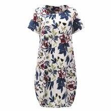 Летнее платье 2018 новый короткий рукав свободное платье Для женщин Винтаж Midi сексуальное платье Summr Цветочный принт платье Vestidos плюс Размеры