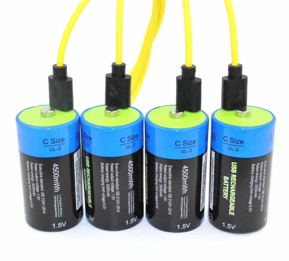 Prix pour 4 pcs etinesan 1.5 v 4500mwh li-polymère rechargeable batterie c taille batterie, rechargeable C li-ion batterie + câble de recharge USB