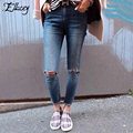 New 2017 Spring Summer Street Fashion Pencil Pants Jeans Woman Ripped Mid Waist Jeans Denim Trousers Hole Skinny Jeans Pants