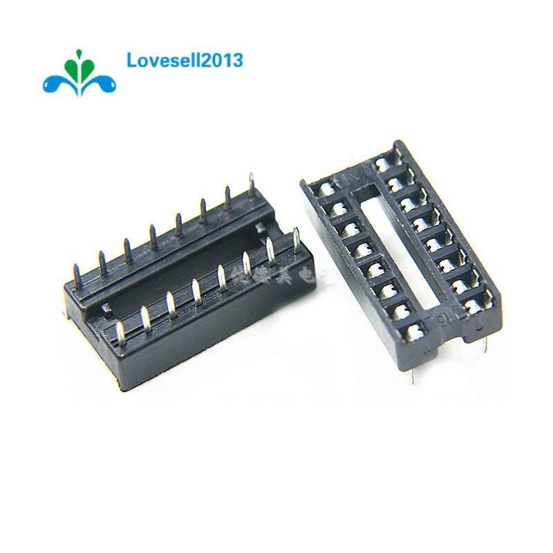 10PCS Black 16-Pins DIP IC Sockets Adaptor Solder Type Socket