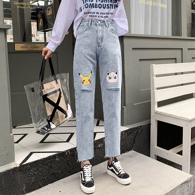 Hole Jeans Harajuku High-Waist Cute Chic Retro Female Cartoon Women New Pikachu -8011