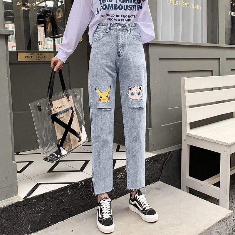 Summer Jeans Women 2019 New Harajuku Cute Pikachu Print Jeans Loose High Waist Retro Cartoon Hole Jeans Female Chic #8011