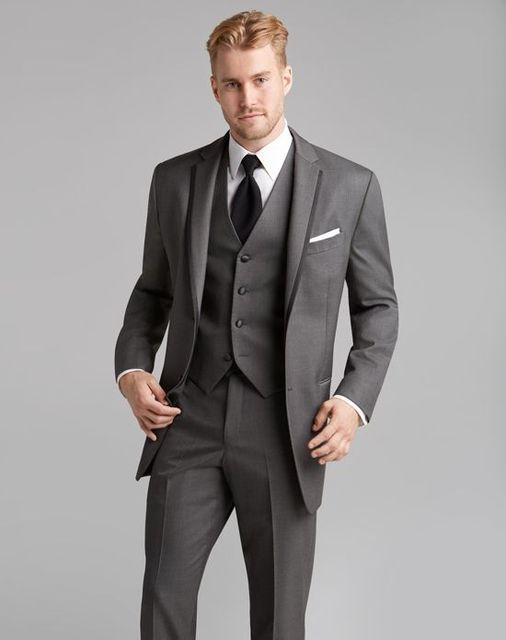 2017 Latest Coat Pant Designs Grey Classic Men Suit Formal Skinny ...