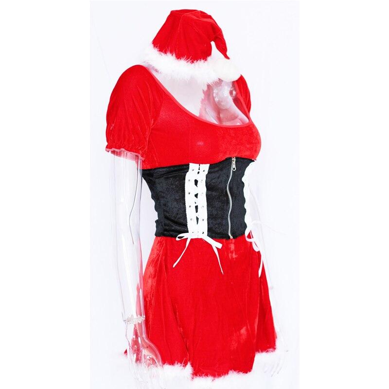 Little Red Hood Off Shoulder Christmas Dress Carnival Cosplay Red - Կարնավալային հագուստները - Լուսանկար 6