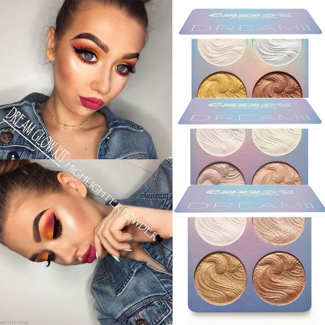 4 colores iluminador de resaltador maquillaje Kit de brillo cara brigher contorno líquido resaltador polvo paleta bronceador