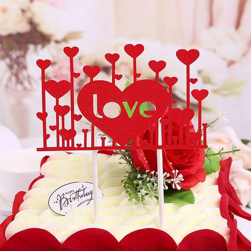 Glitter Love Heart Mr Mrs font b Wedding b font Birthday Flag Cake Topper Party Favors