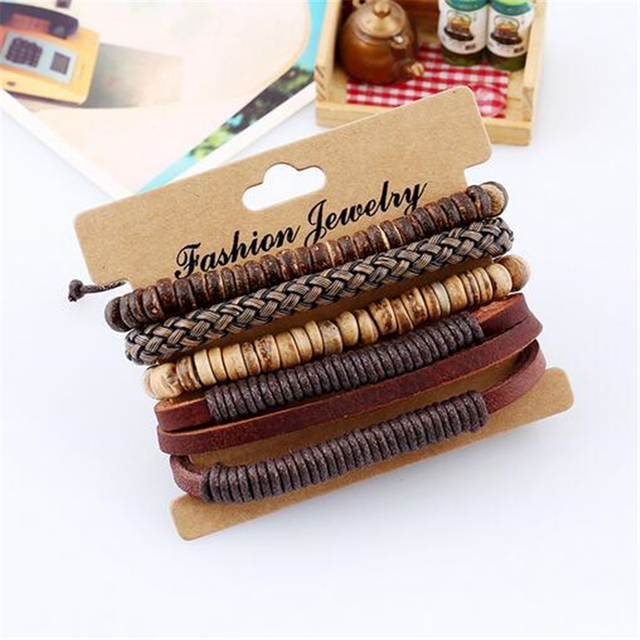4pcs 1 Set Punk Genuine Wrap Leather Bracelets Men For Women 2