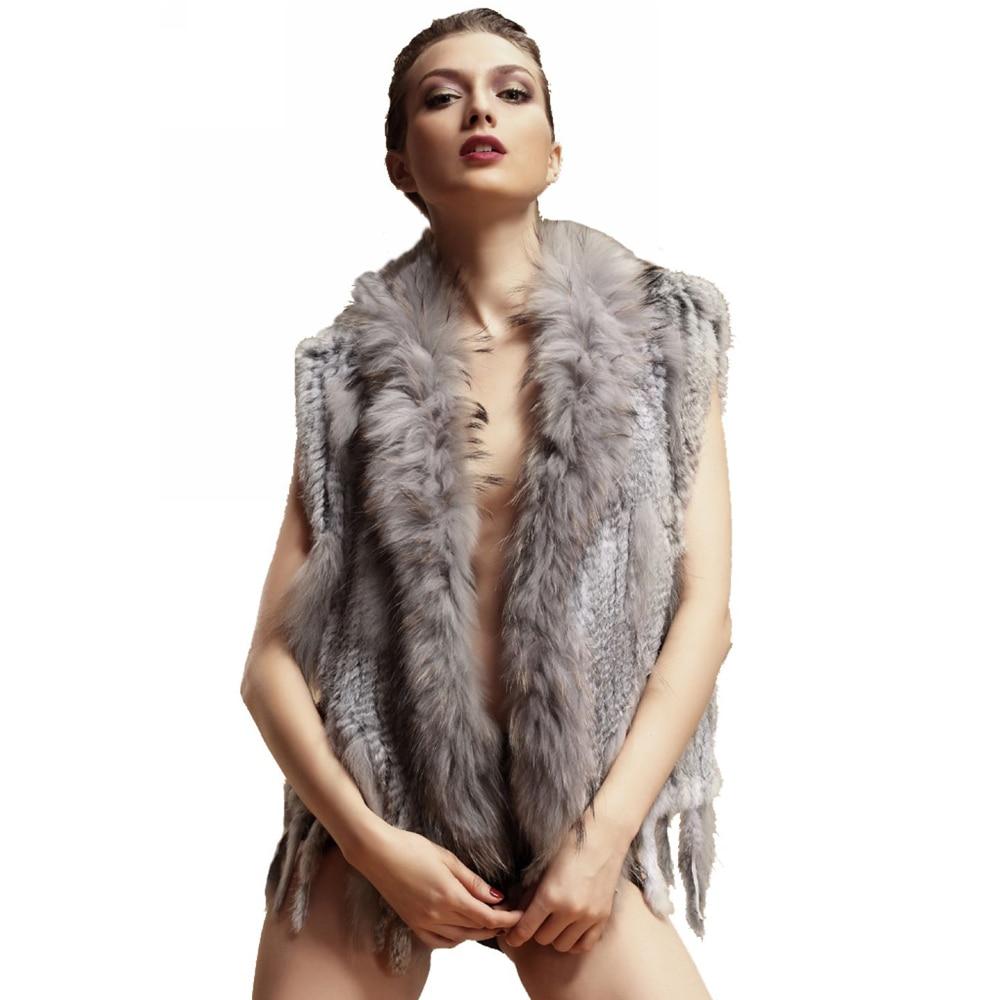 ZY88003 Classic Lady Genuine Knitted Winter Women Rabbit Fur Vest with tassels Raccoon Fur Trimming Fur Waistcoat Gilet topfurmall lady fashion genuine knitting rabbit fur vest waistcoat women real fur gilet outerwear asymmetric length lf4003