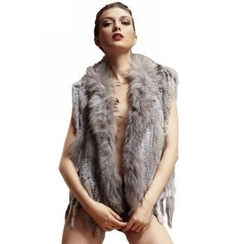 ZY88003 Classic Lady Genuine Knitted Winter Women Rabbit Fur Vest with tassels Raccoon Fur Trimming  Fur Waistcoat Gilet