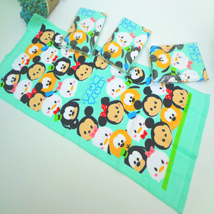 Tsum Tsum Mickey Minnie Towel Baby Boys Girls Handkerchief Printed Hanky Children Portable Cotton Towels 35*75CM zakdoek gurashi