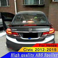 For Honda 2012 2015 Civic has LED tail spoiler ABS material primer or black or white high quality rear wing spoiler