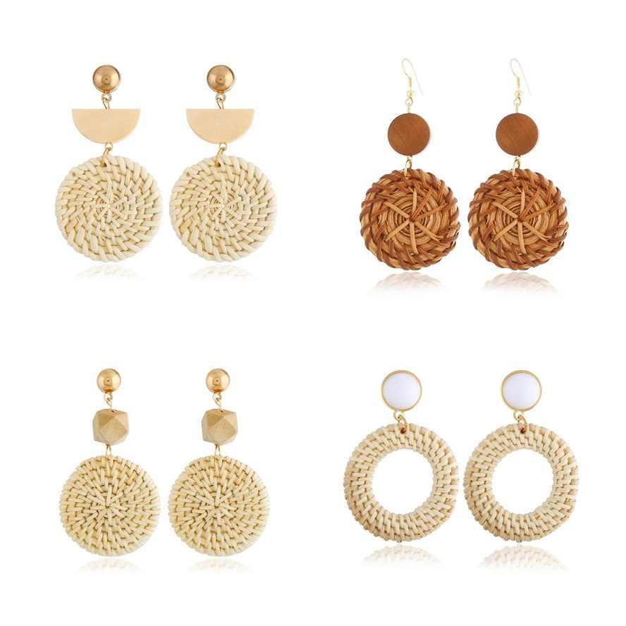 2018 New Hot Fashion Bamboo Rattan Straw Weave Earrings For Women Handmade Circle Long Drop Dangle Earring Female Brincos gift