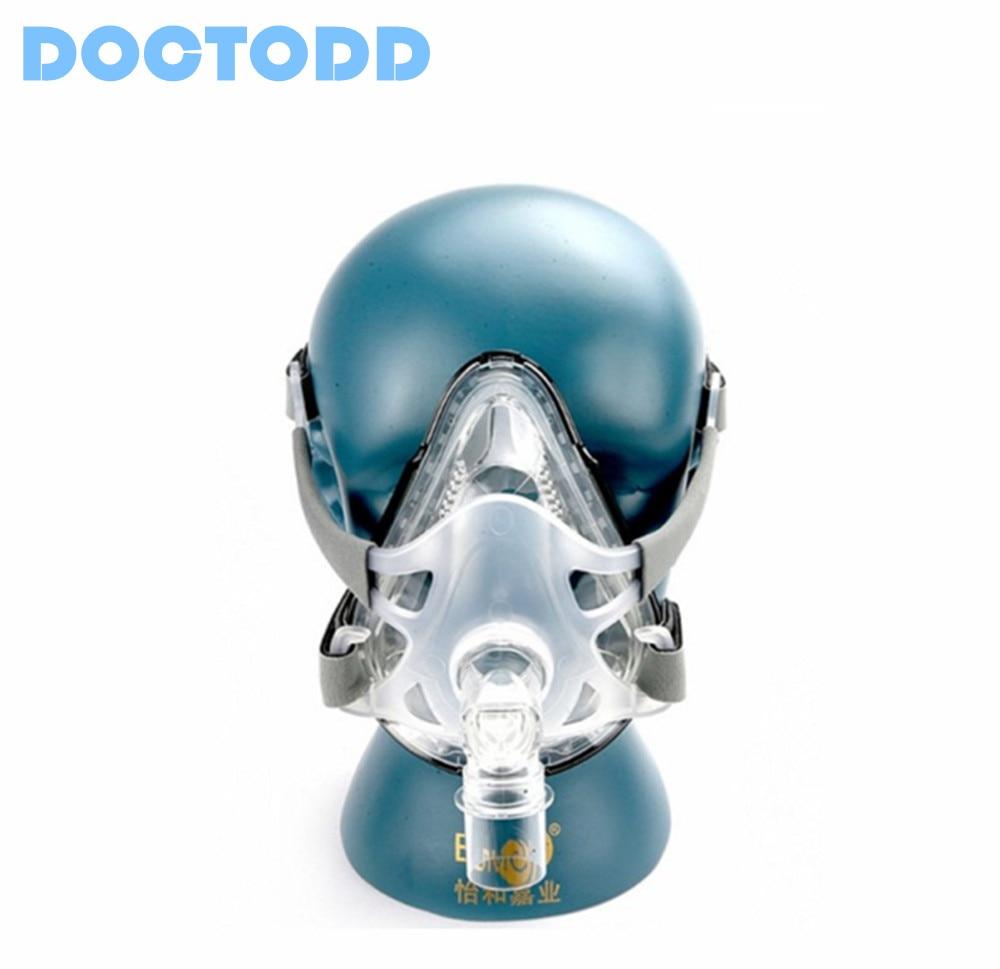 Doctodd F1A masque facial complet pour toutes les marques CPAP Auto CPAP BiPAP Machines respirateur ventilateur W/couvre-chef S M L tailles pour Option