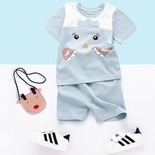 Summer Baby Kids Clothes Sets Cartoon Kitty Infant Toddler Short Sleeve Tshirt + Short Pants Cotton Suits Children Clothing