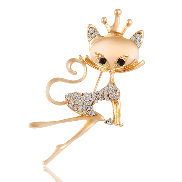 New Fashion Luxury Banquet Alloy Crown Sexy Fox Jewelry Charm Rhinestone Brooch Pin ABC